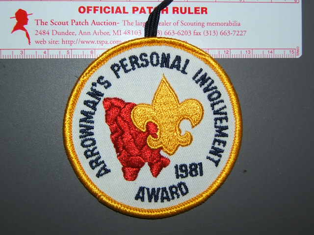 1981 OA Personal Involvement Award patch